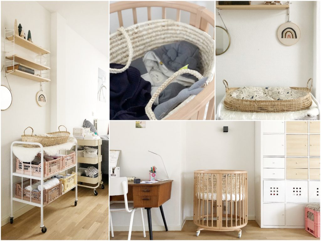 creatief wonen appartement, organiseren kleine ruimtes, babyhoekjes, baby appartement, stokke sleepi mini, kabine, mozesmand, kratjes, konges slöjd, wieg