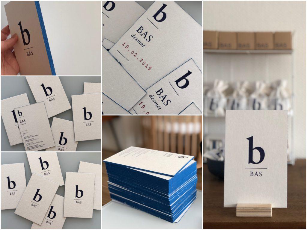 Bas Desmet, letterpress geboortekaartje, birth card letterpress, minimal birth card, blue