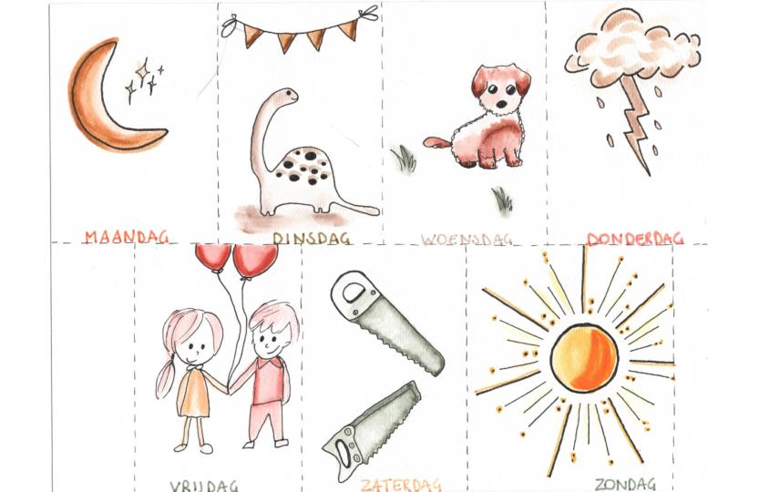 weekkalender, dagen van de week leren, kleuters